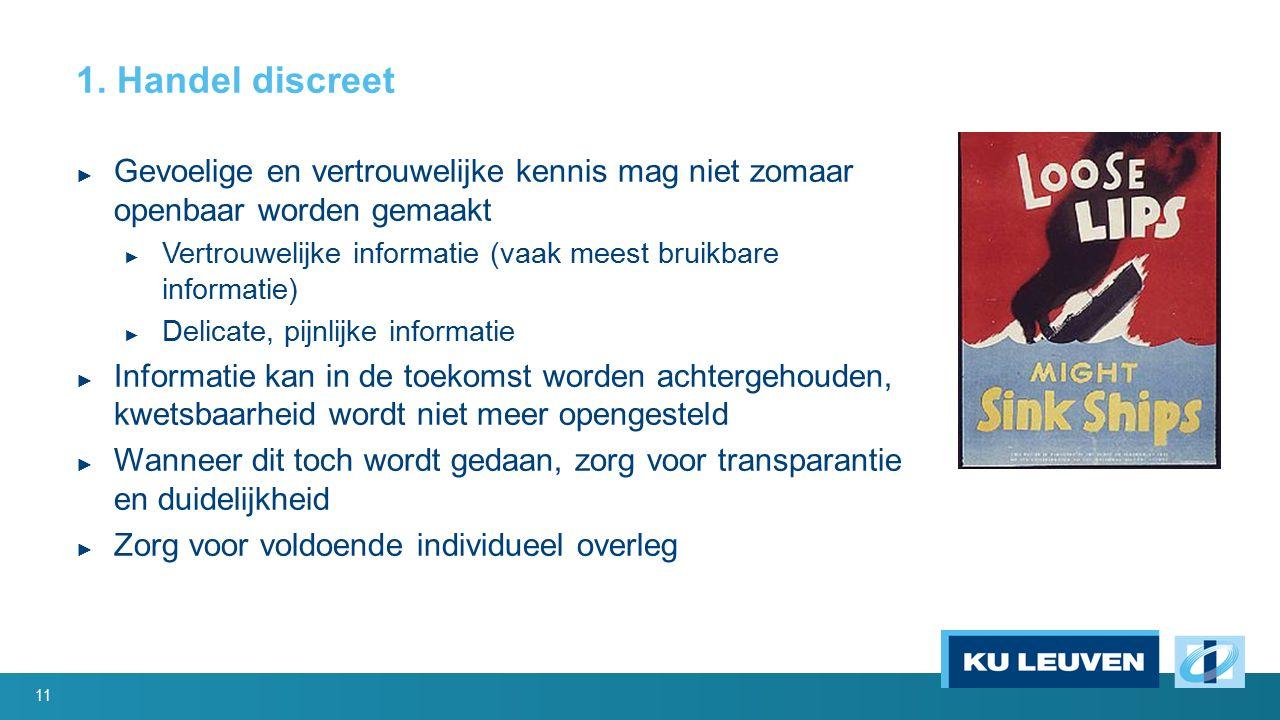 1. Handel discreet ► Gevoelige en vertrouwelijke kennis mag niet zomaar openbaar worden gemaakt ► Vertrouwelijke informatie (vaak meest bruikbare info