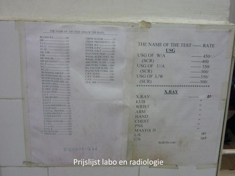 Prijslijst labo en radiologie