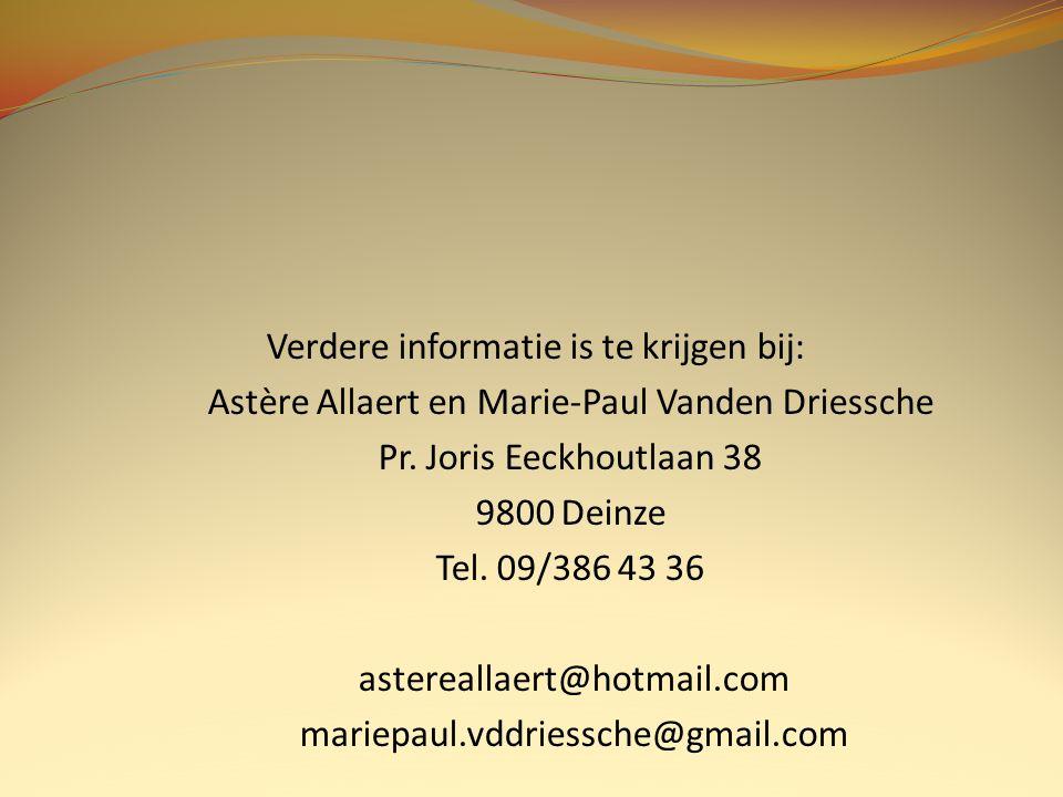 Verdere informatie is te krijgen bij: Astère Allaert en Marie-Paul Vanden Driessche Pr.