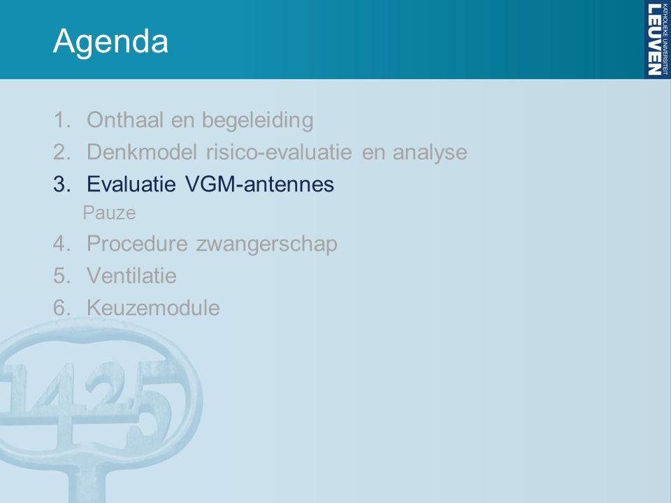 Agenda 1.Onthaal en begeleiding 2.Denkmodel risico-evaluatie en analyse 3.Evaluatie VGM-antennes Pauze 4.Procedure zwangerschap 5.Ventilatie 6.Keuzemodule