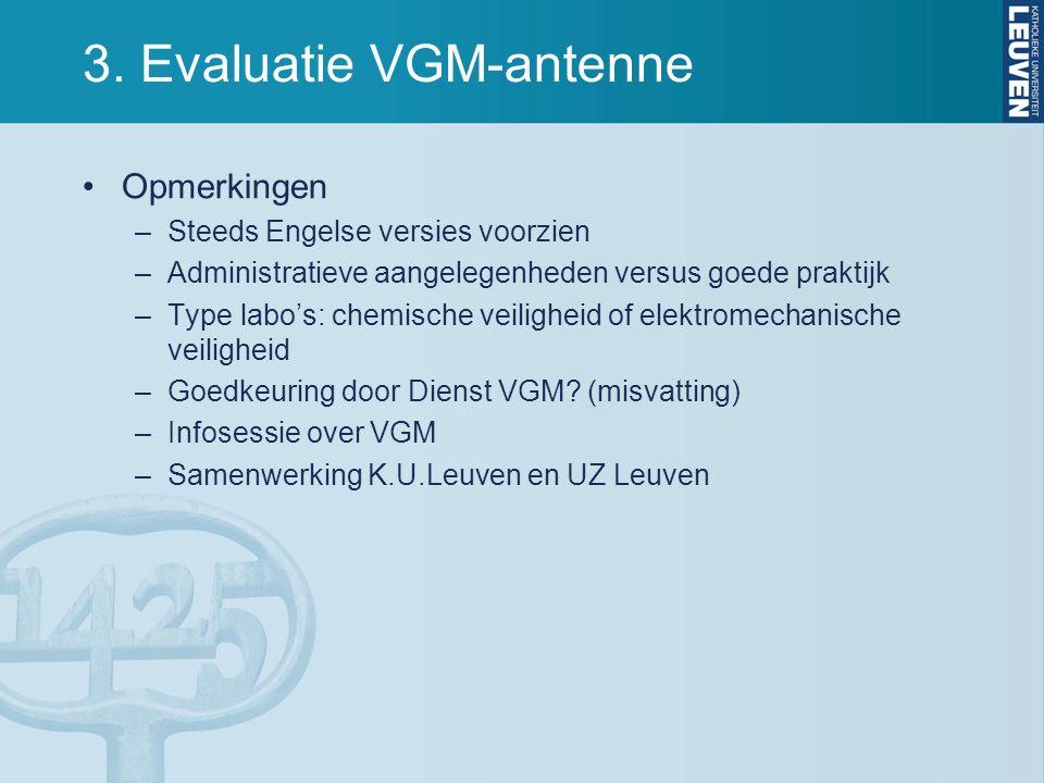 3. Evaluatie VGM-antenne Opmerkingen –Steeds Engelse versies voorzien –Administratieve aangelegenheden versus goede praktijk –Type labo's: chemische v