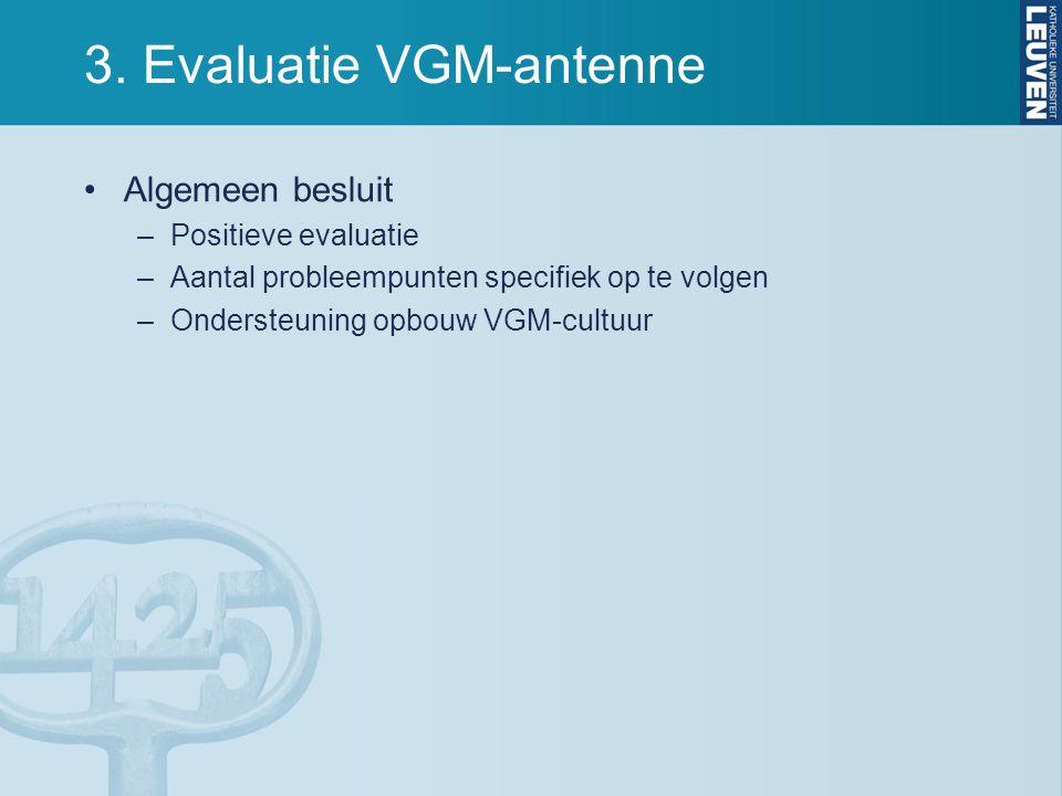 3. Evaluatie VGM-antenne Algemeen besluit –Positieve evaluatie –Aantal probleempunten specifiek op te volgen –Ondersteuning opbouw VGM-cultuur