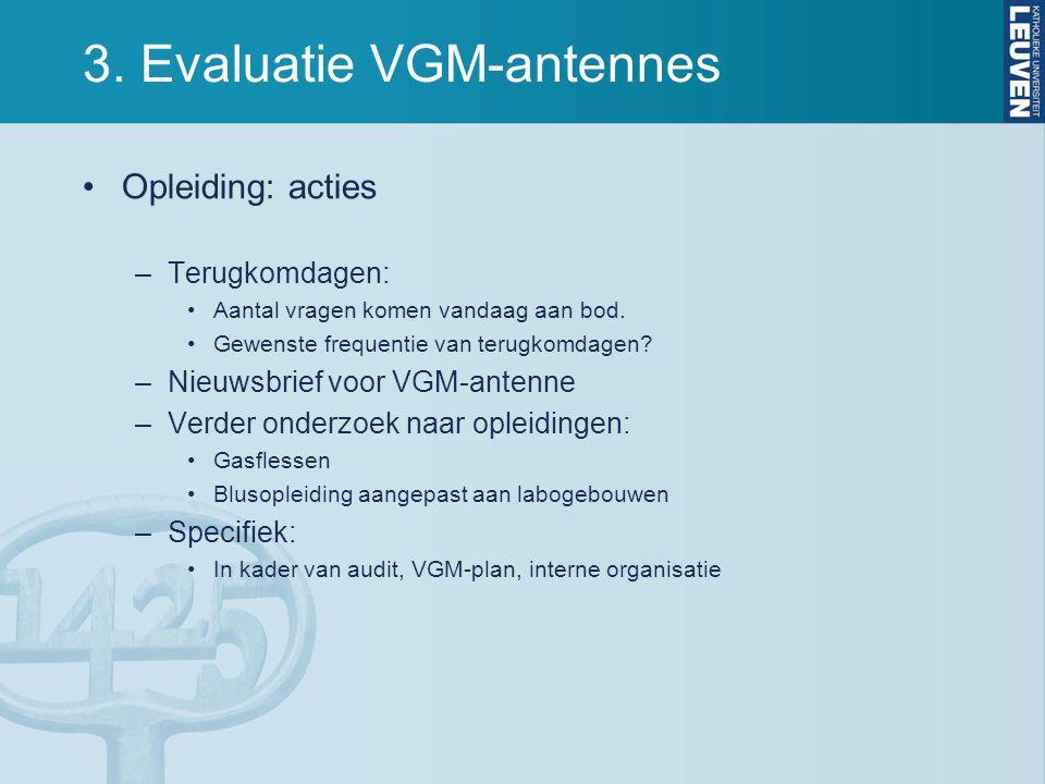 3. Evaluatie VGM-antennes Opleiding: acties –Terugkomdagen: Aantal vragen komen vandaag aan bod.