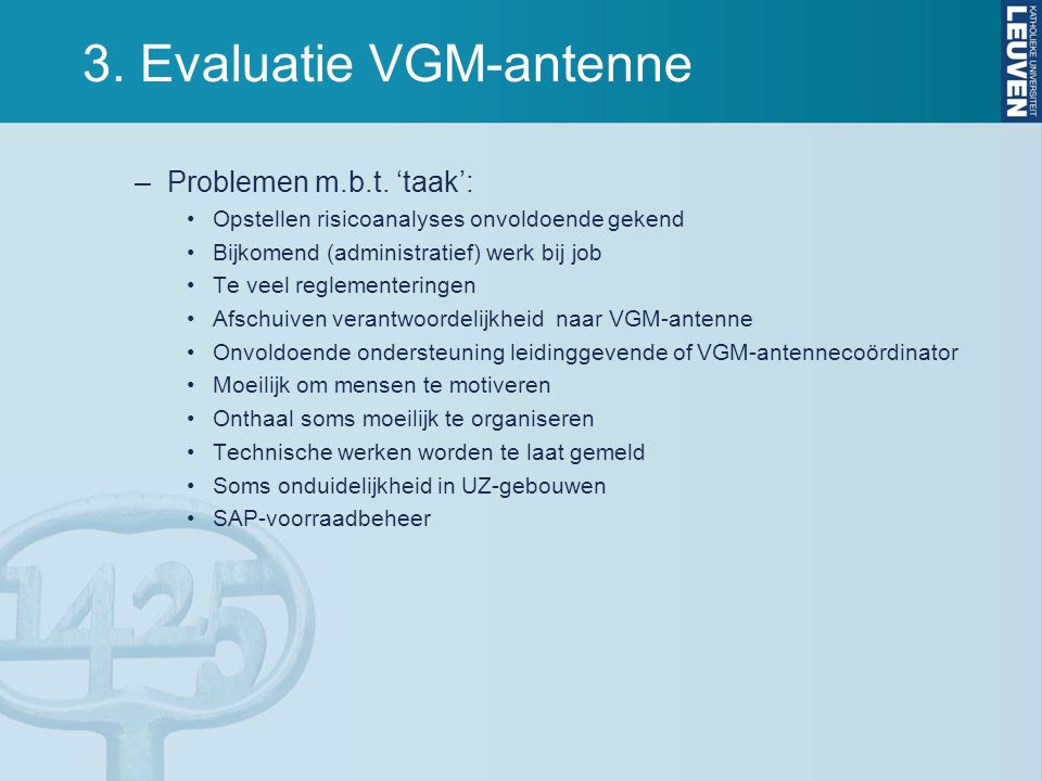 3. Evaluatie VGM-antenne –Problemen m.b.t.