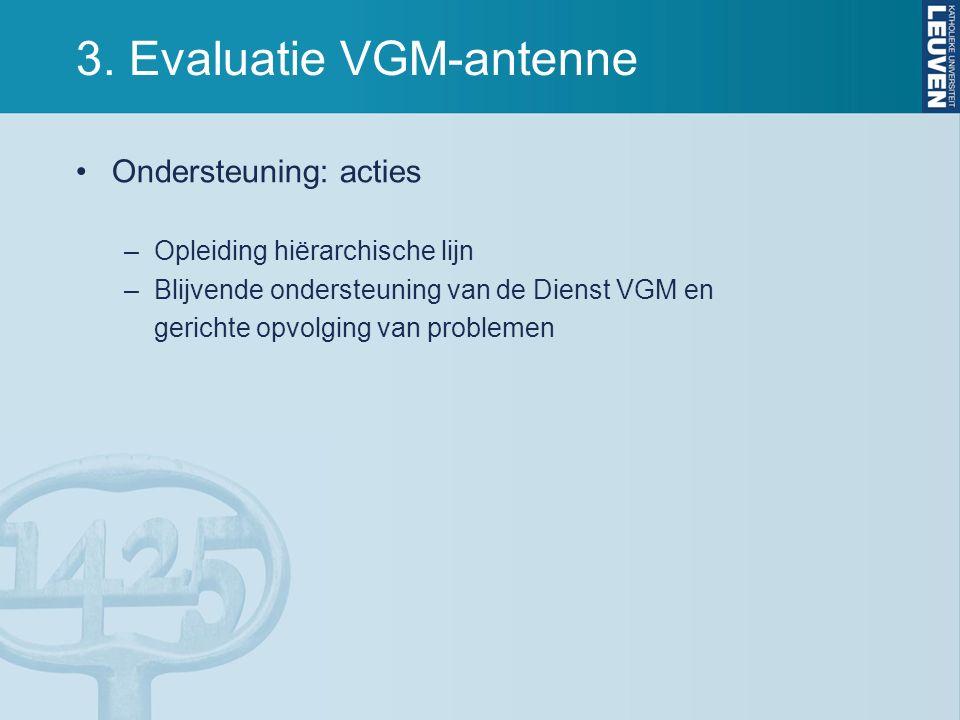 3. Evaluatie VGM-antenne Ondersteuning: acties –Opleiding hiërarchische lijn –Blijvende ondersteuning van de Dienst VGM en gerichte opvolging van prob