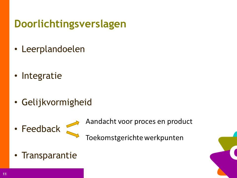 11 Doorlichtingsverslagen Leerplandoelen Integratie Gelijkvormigheid Feedback Transparantie Aandacht voor proces en product Toekomstgerichte werkpunten
