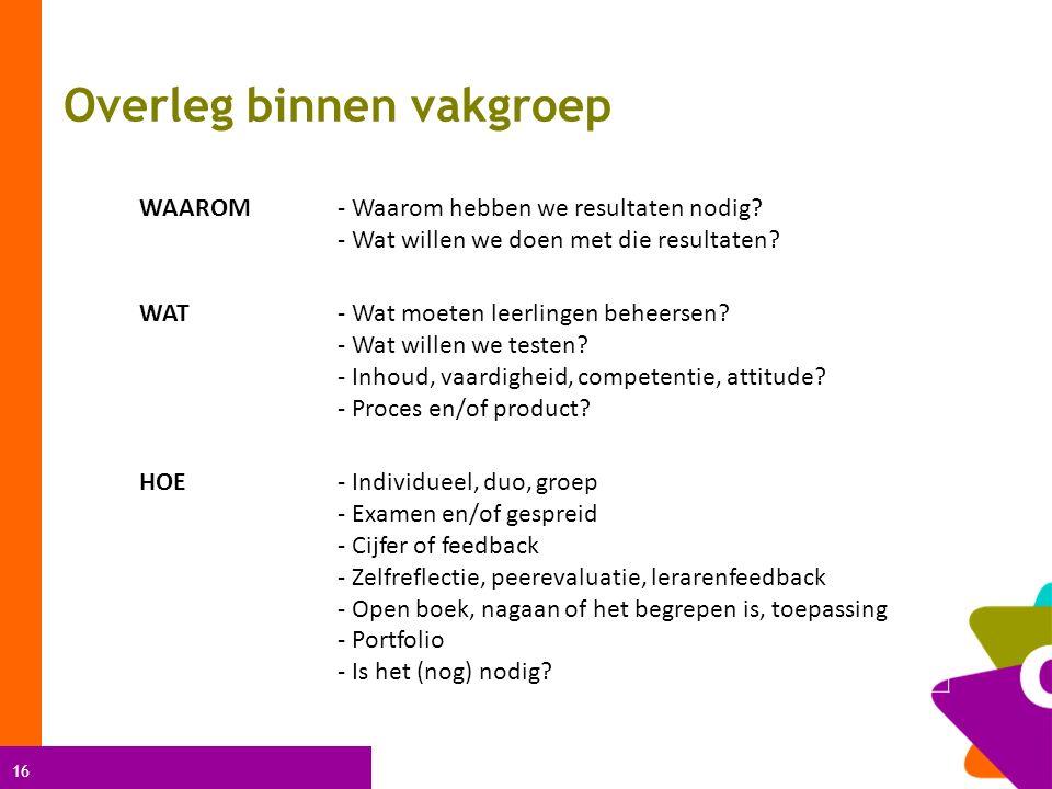 16 Overleg binnen vakgroep WAAROM- Waarom hebben we resultaten nodig.