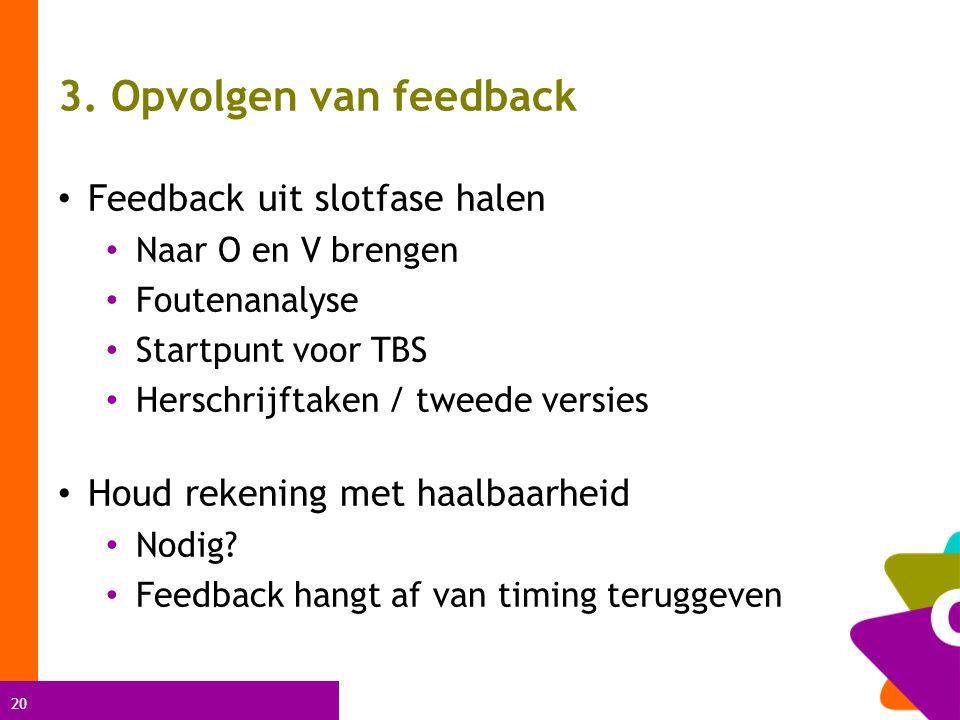 20 3. Opvolgen van feedback Feedback uit slotfase halen Naar O en V brengen Foutenanalyse Startpunt voor TBS Herschrijftaken / tweede versies Houd rek