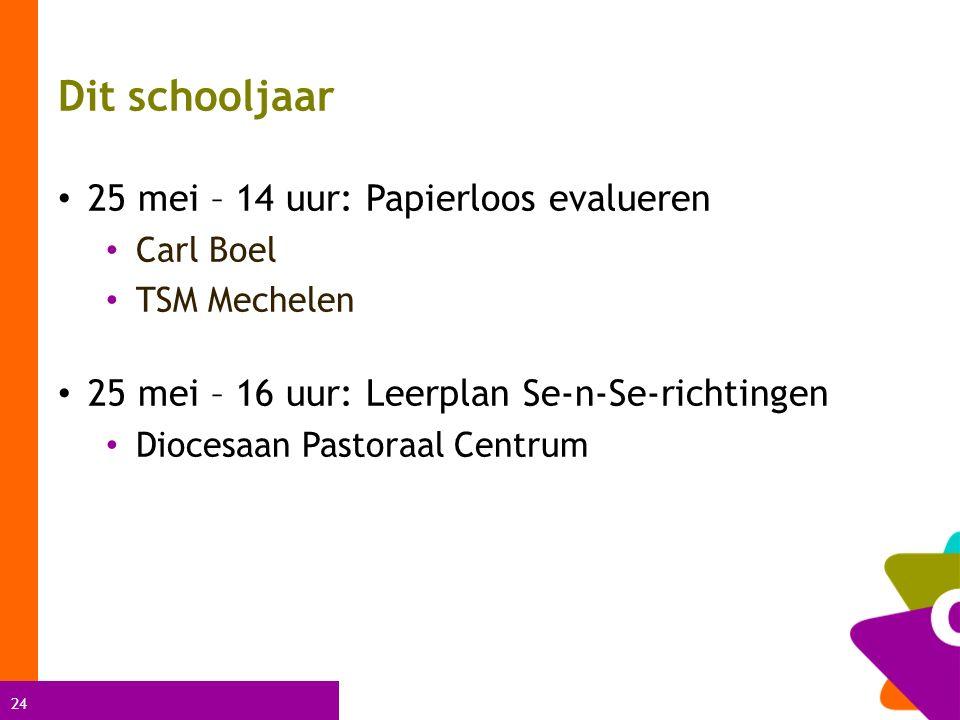 24 Dit schooljaar 25 mei – 14 uur: Papierloos evalueren Carl Boel TSM Mechelen 25 mei – 16 uur: Leerplan Se-n-Se-richtingen Diocesaan Pastoraal Centrum