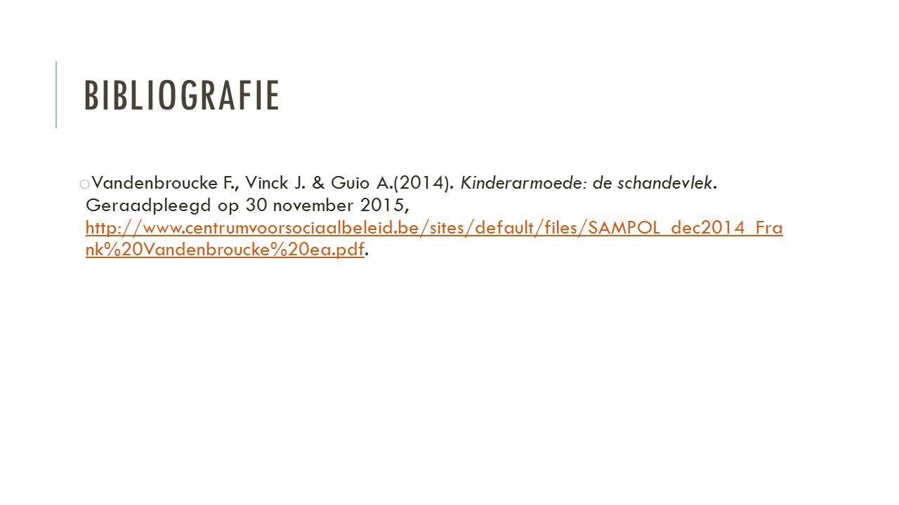 BIBLIOGRAFIE o Vandenbroucke F., Vinck J. & Guio A.(2014). Kinderarmoede: de schandevlek. Geraadpleegd op 30 november 2015, http://www.centrumvoorsoci