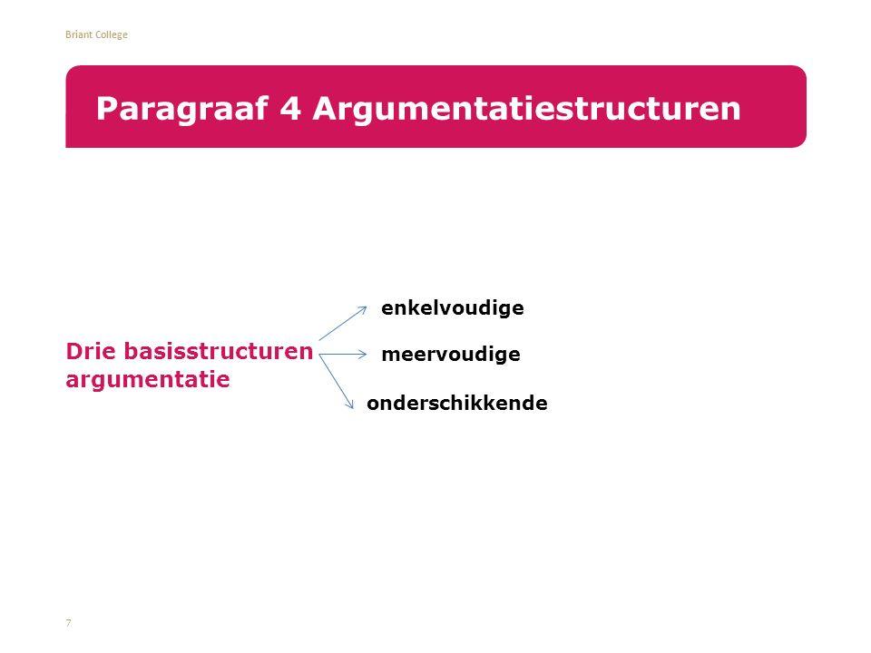 Briant College Drie basisstructuren argumentatie 7 Paragraaf 4 Argumentatiestructuren enkelvoudige meervoudige onderschikkende