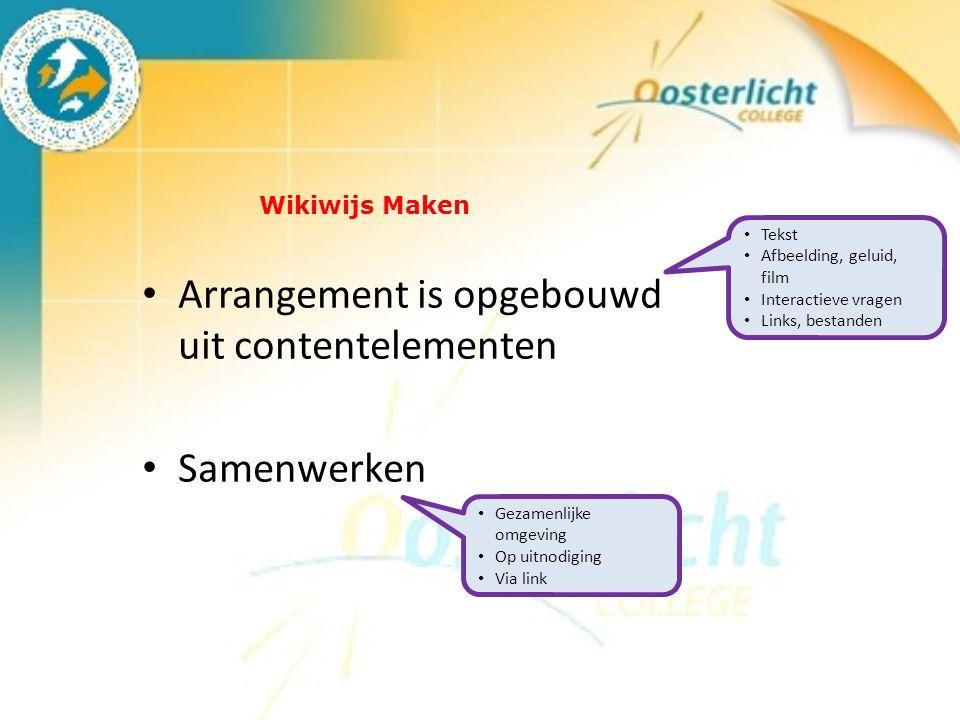 Wikiwijs Maken Arrangement is opgebouwd uit contentelementen Samenwerken Tekst Afbeelding, geluid, film Interactieve vragen Links, bestanden Gezamenlijke omgeving Op uitnodiging Via link