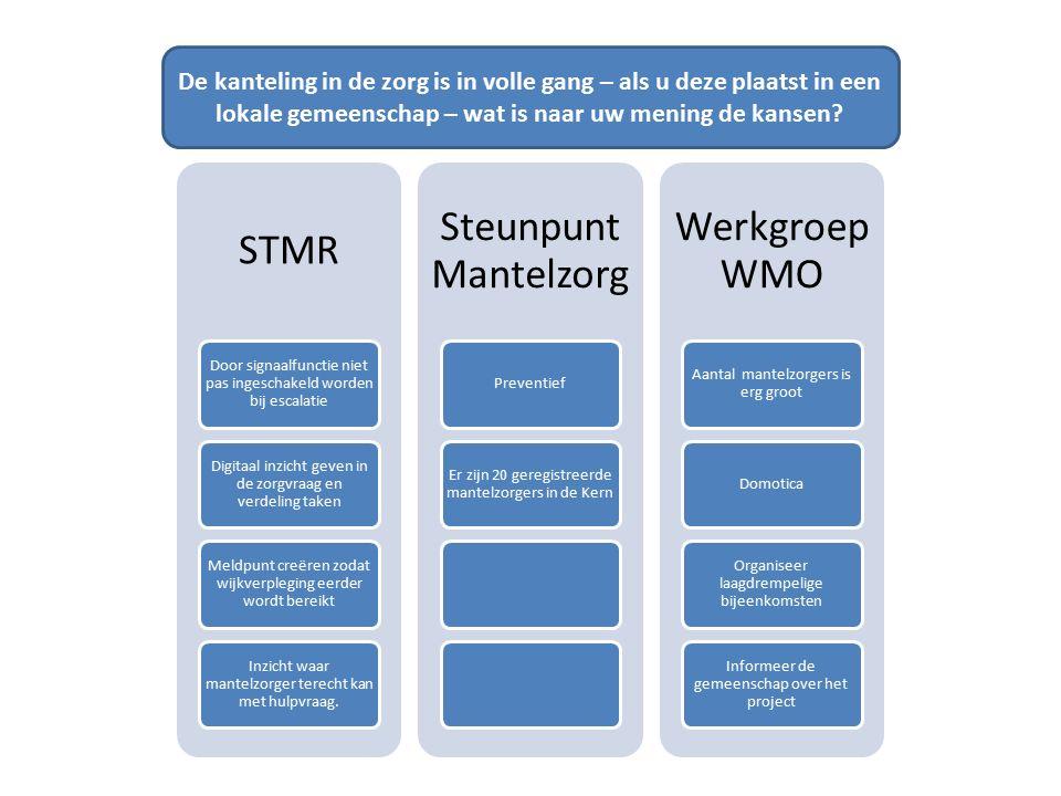 STMR Door signaalfunctie niet pas ingeschakeld worden bij escalatie Digitaal inzicht geven in de zorgvraag en verdeling taken Meldpunt creëren zodat w
