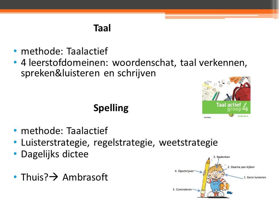Taal methode: Taalactief 4 leerstofdomeinen: woordenschat, taal verkennen, spreken&luisteren en schrijven Spelling methode: Taalactief Luisterstrategie, regelstrategie, weetstrategie Dagelijks dictee Thuis.