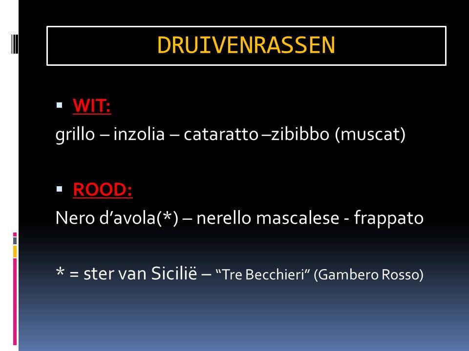  WIT: grillo – inzolia – cataratto –zibibbo (muscat)  ROOD: Nero d'avola(*) – nerello mascalese - frappato * = ster van Sicilië – Tre Becchieri (Gambero Rosso) DRUIVENRASSEN