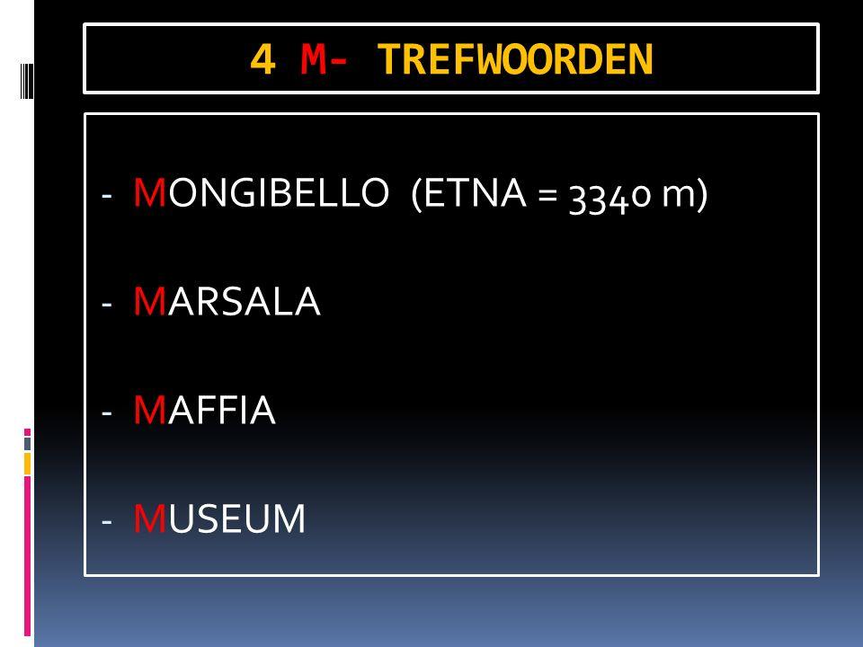 4 M- TREFWOORDEN - MONGIBELLO (ETNA = 3340 m) - MARSALA - MAFFIA - MUSEUM