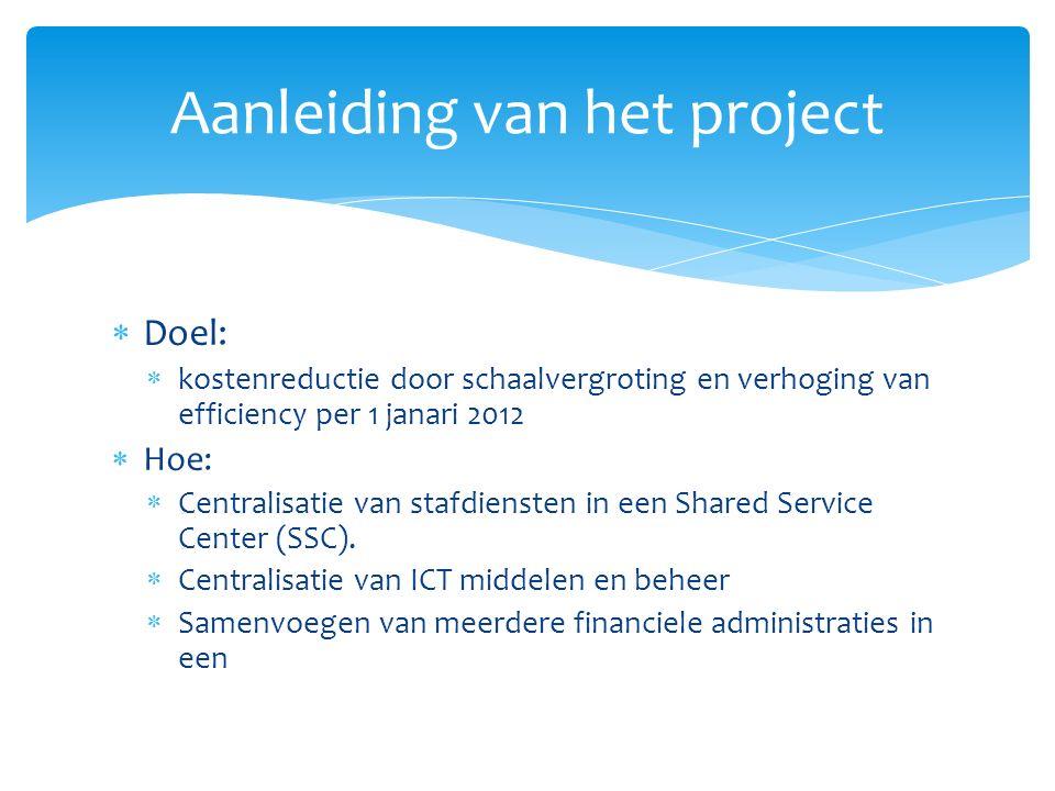  Doel:  kostenreductie door schaalvergroting en verhoging van efficiency per 1 janari 2012  Hoe:  Centralisatie van stafdiensten in een Shared Service Center (SSC).