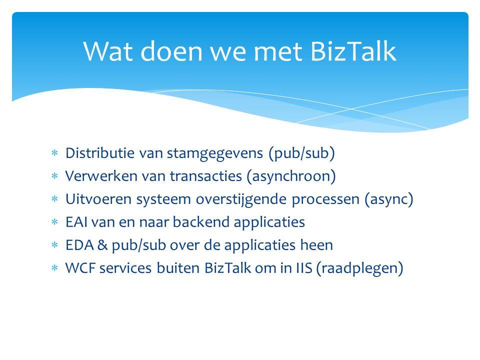  Distributie van stamgegevens (pub/sub)  Verwerken van transacties (asynchroon)  Uitvoeren systeem overstijgende processen (async)  EAI van en naar backend applicaties  EDA & pub/sub over de applicaties heen  WCF services buiten BizTalk om in IIS (raadplegen) Wat doen we met BizTalk