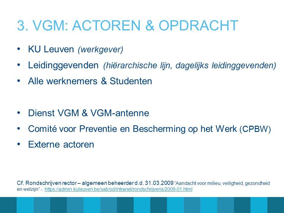 3. VGM: ACTOREN & OPDRACHT KU Leuven (werkgever) Leidinggevenden (hiërarchische lijn, dagelijks leidinggevenden) Alle werknemers & Studenten Dienst VG