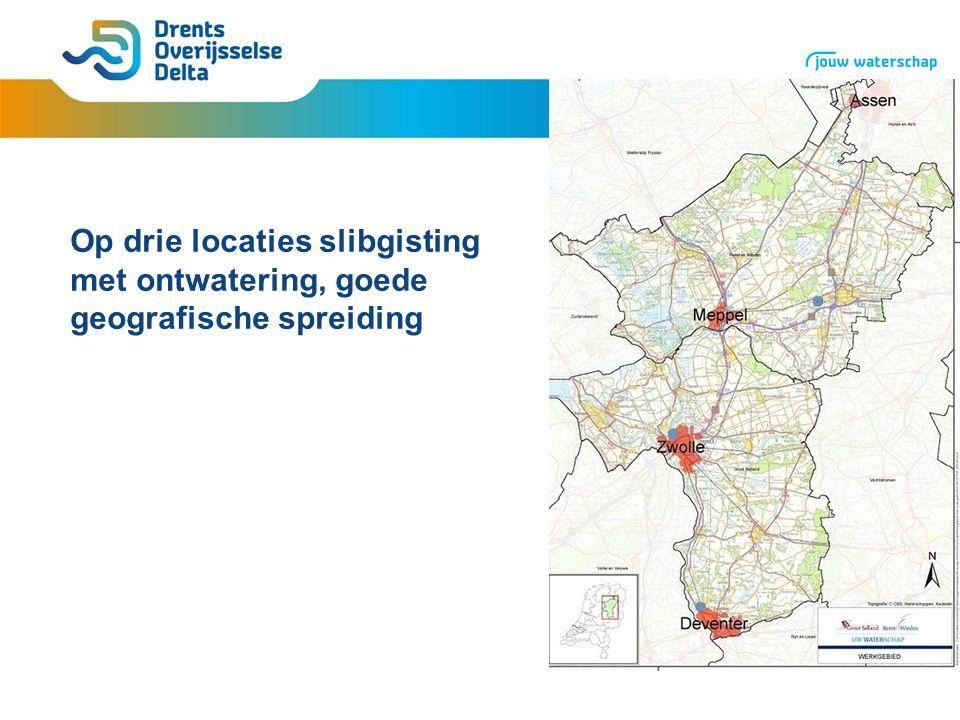 Op drie locaties slibgisting met ontwatering, goede geografische spreiding
