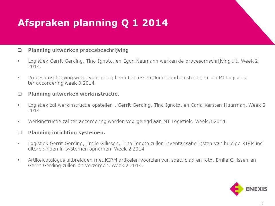  Planning uitwerken procesbeschrijving Logistiek Gerrit Gerding, Tino Ignoto, en Egon Neumann werken de procesomschrijving uit. Week 2 2014. Procesom