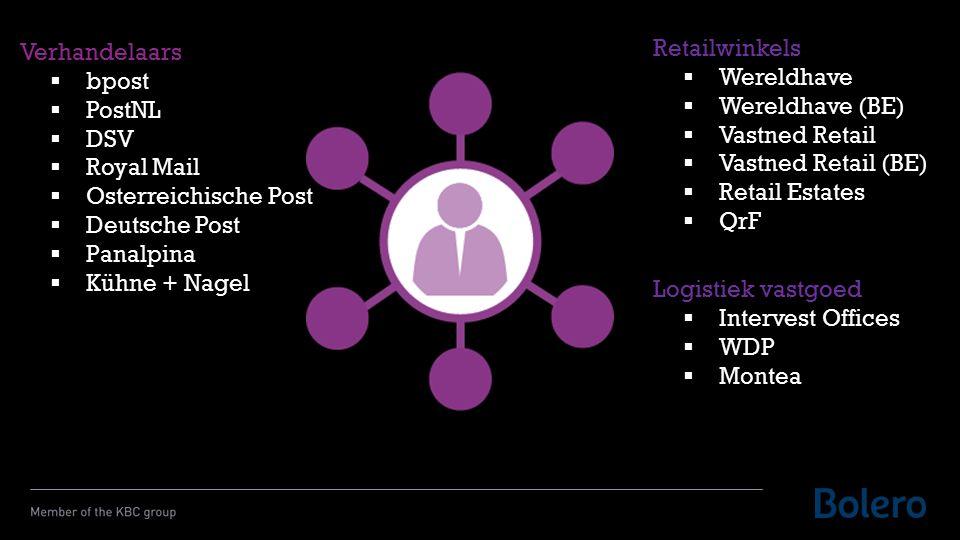 Verhandelaars  bpost  PostNL  DSV  Royal Mail  Osterreichische Post  Deutsche Post  Panalpina  Kühne + Nagel Retailwinkels  Wereldhave  Wereldhave (BE)  Vastned Retail  Vastned Retail (BE)  Retail Estates  QrF Logistiek vastgoed  Intervest Offices  WDP  Montea
