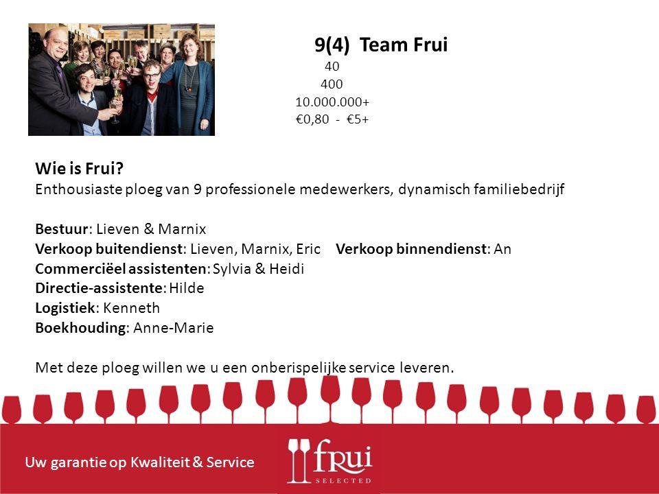 Uw garantie op Kwaliteit & Service 9(4) 40 400 10.000.000+ €0,80 - €5+ Team Frui Wie is Frui.