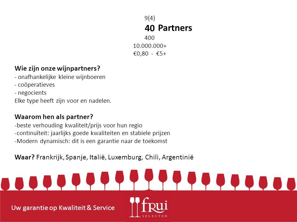 Uw garantie op Kwaliteit & Service 9(4) 40 400 10.000.000+ €0,80 - €5+ Partners Wie zijn onze wijnpartners.