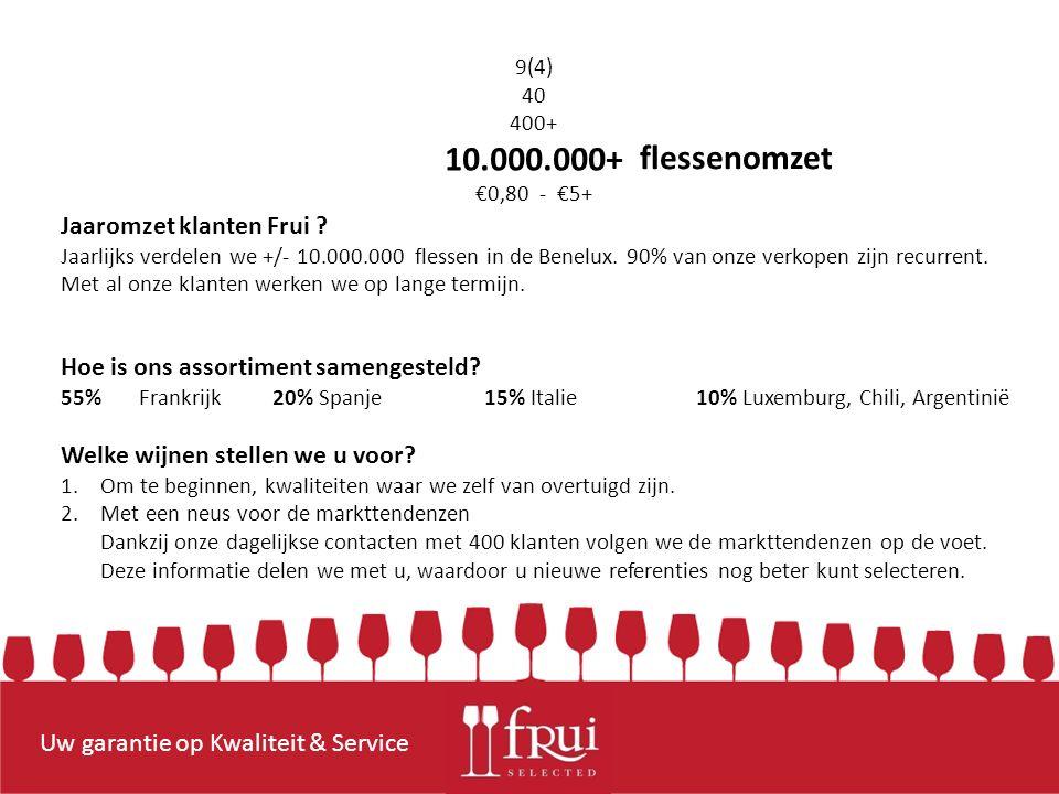 Uw garantie op Kwaliteit & Service flessenomzet Jaaromzet klanten Frui .