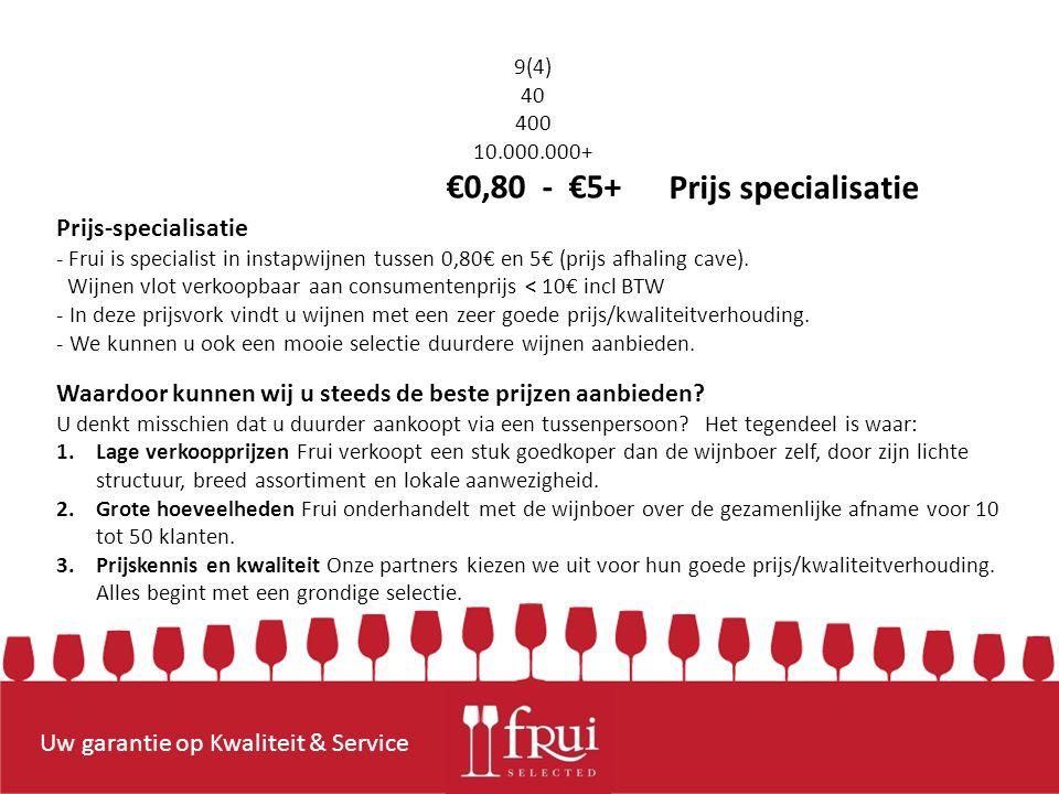 Uw garantie op Kwaliteit & Service Prijs-specialisatie - Frui is specialist in instapwijnen tussen 0,80€ en 5€ (prijs afhaling cave).