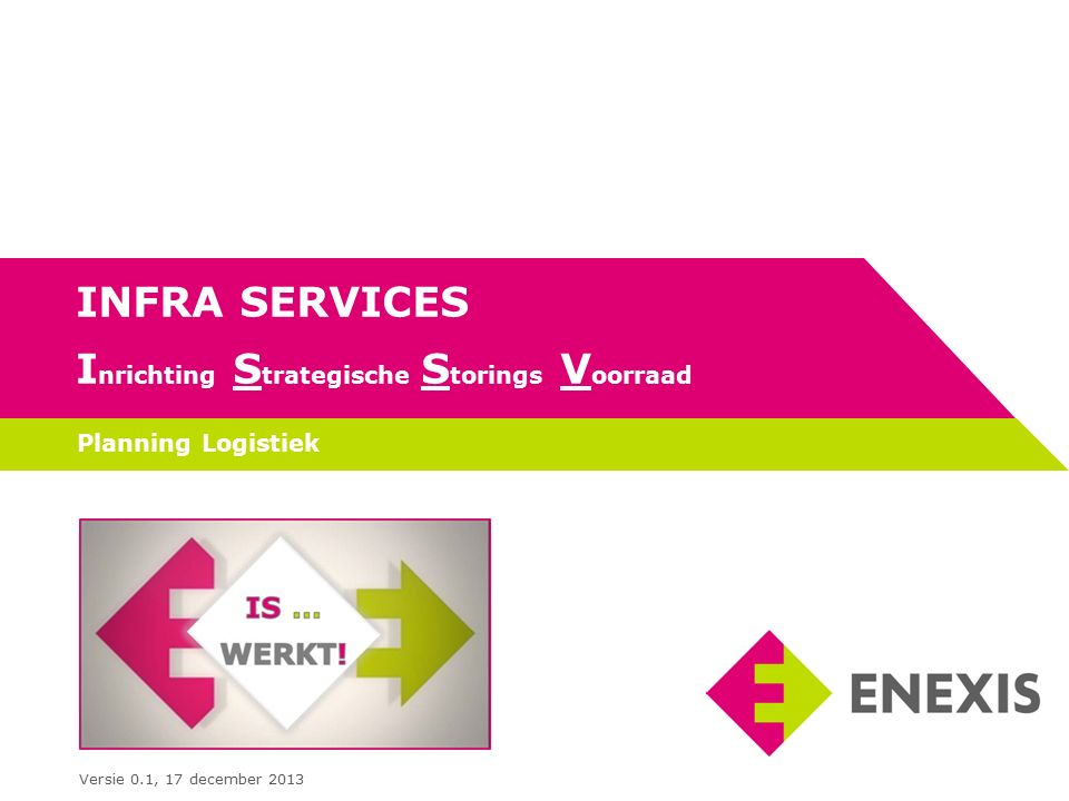 INFRA SERVICES I nrichting S trategische S torings V oorraad Planning Logistiek Versie 0.1, 17 december 2013
