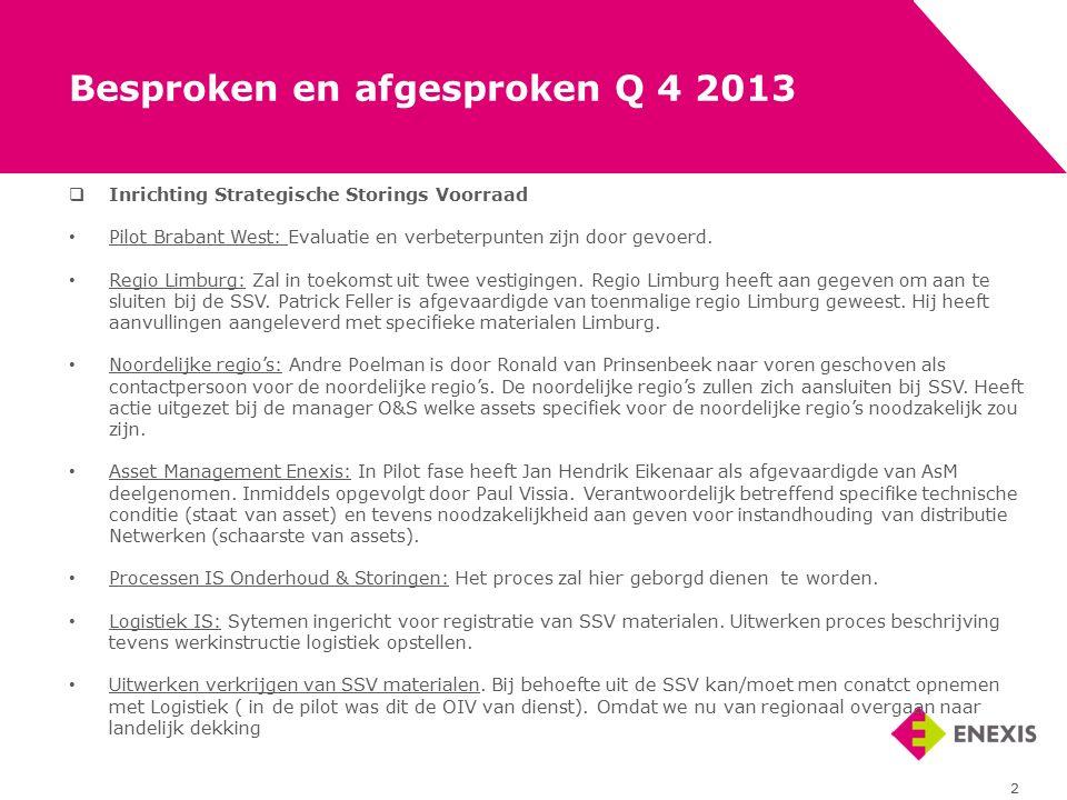  Inrichting Strategische Storings Voorraad Pilot Brabant West: Evaluatie en verbeterpunten zijn door gevoerd. Regio Limburg: Zal in toekomst uit twee
