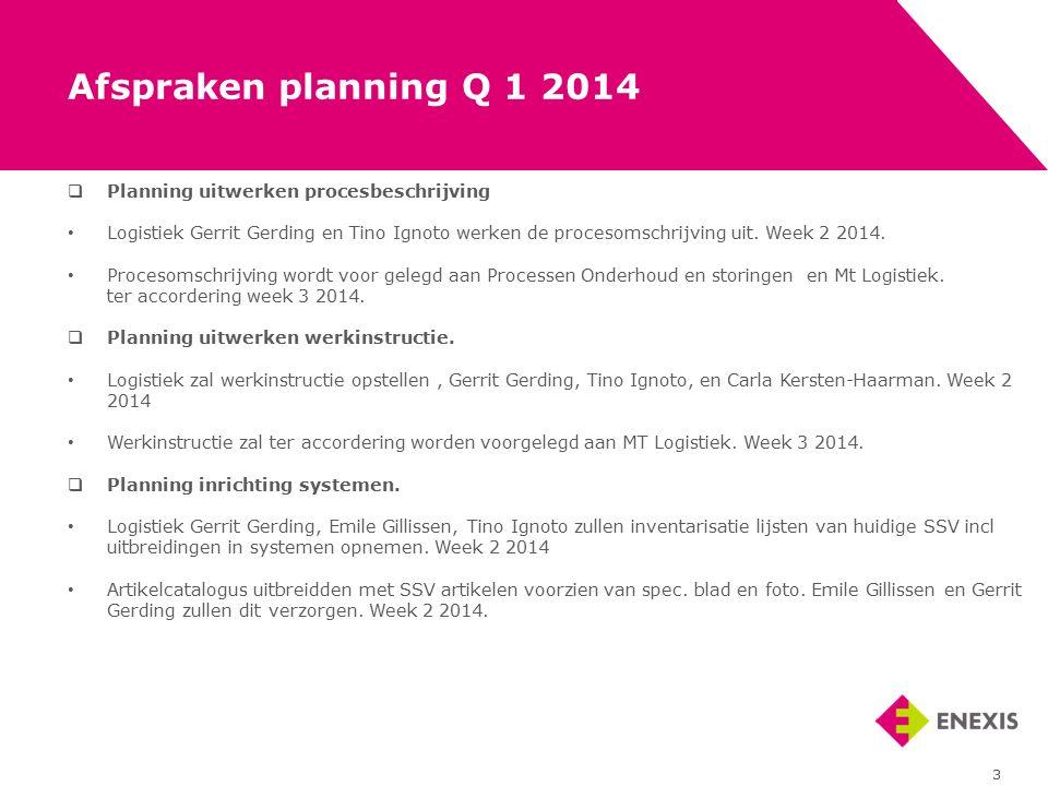  Planning uitwerken procesbeschrijving Logistiek Gerrit Gerding en Tino Ignoto werken de procesomschrijving uit. Week 2 2014. Procesomschrijving word