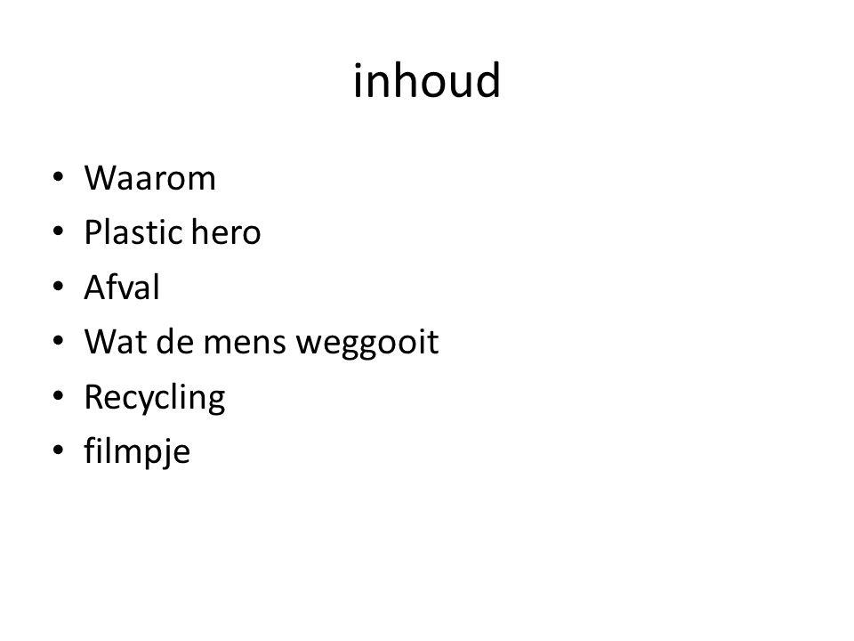 inhoud Waarom Plastic hero Afval Wat de mens weggooit Recycling filmpje