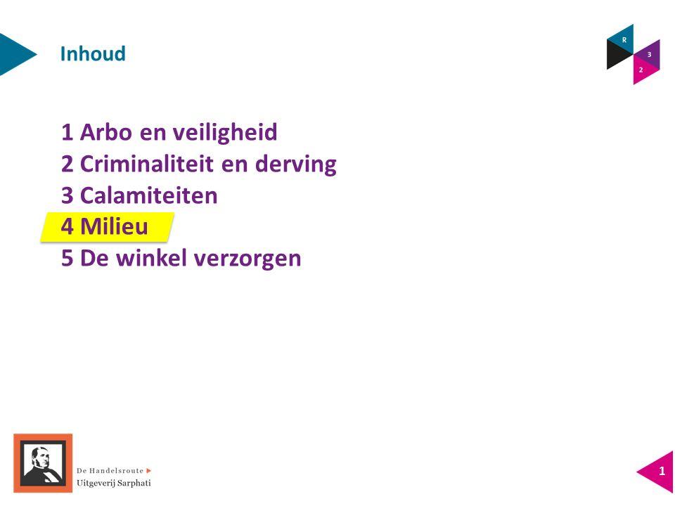 Inhoud 1 Arbo en veiligheid 2 Criminaliteit en derving 3 Calamiteiten 4 Milieu 5 De winkel verzorgen 1