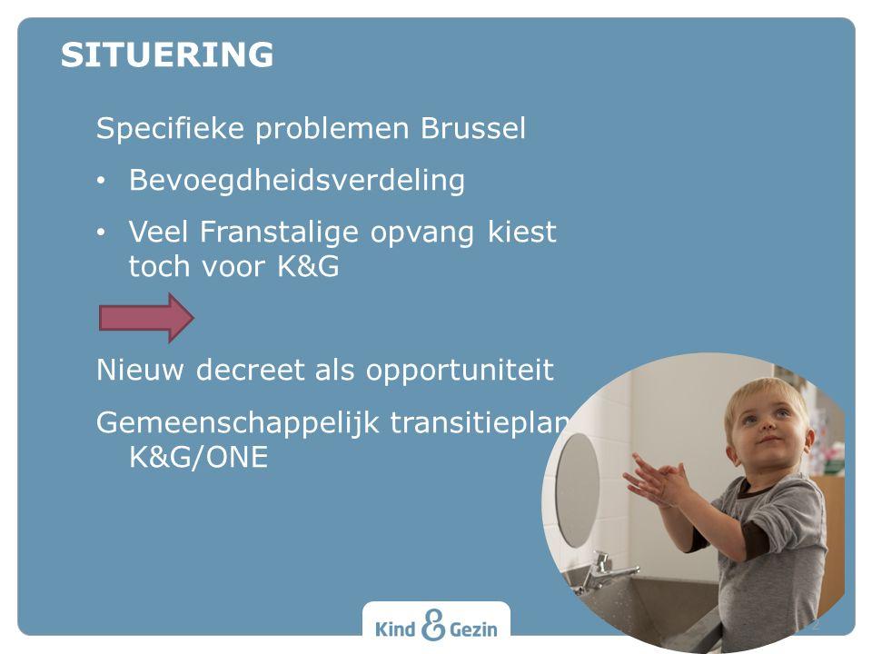 Specifieke problemen Brussel Bevoegdheidsverdeling Veel Franstalige opvang kiest toch voor K&G Nieuw decreet als opportuniteit Gemeenschappelijk trans