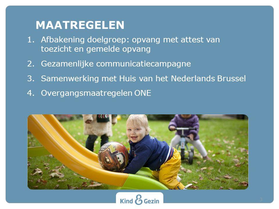 1.Afbakening doelgroep: opvang met attest van toezicht en gemelde opvang 2.Gezamenlijke communicatiecampagne 3.Samenwerking met Huis van het Nederlands Brussel 4.Overgangsmaatregelen ONE MAATREGELEN 3