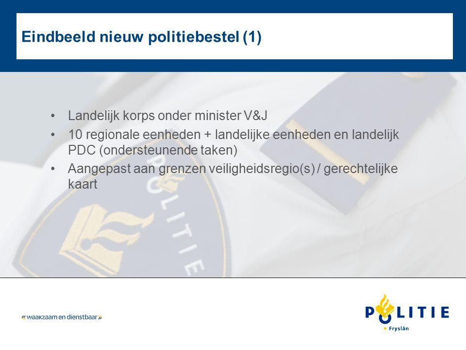 Eindbeeld nieuw politiebestel (1) Landelijk korps onder minister V&J 10 regionale eenheden + landelijke eenheden en landelijk PDC (ondersteunende take