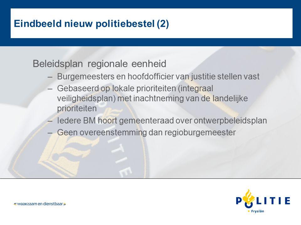 Eindbeeld nieuw politiebestel (2) Beleidsplan regionale eenheid –Burgemeesters en hoofdofficier van justitie stellen vast –Gebaseerd op lokale priorit
