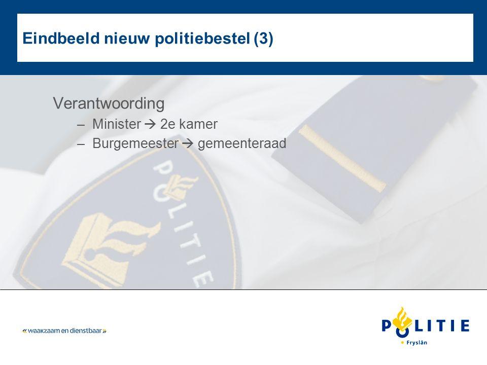 Eindbeeld nieuw politiebestel (3) Verantwoording –Minister  2e kamer –Burgemeester  gemeenteraad