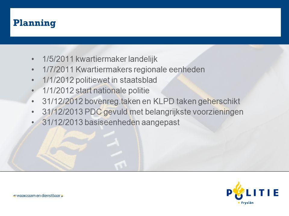 Planning 1/5/2011 kwartiermaker landelijk 1/7/2011 Kwartiermakers regionale eenheden 1/1/2012 politiewet in staatsblad 1/1/2012 start nationale politi