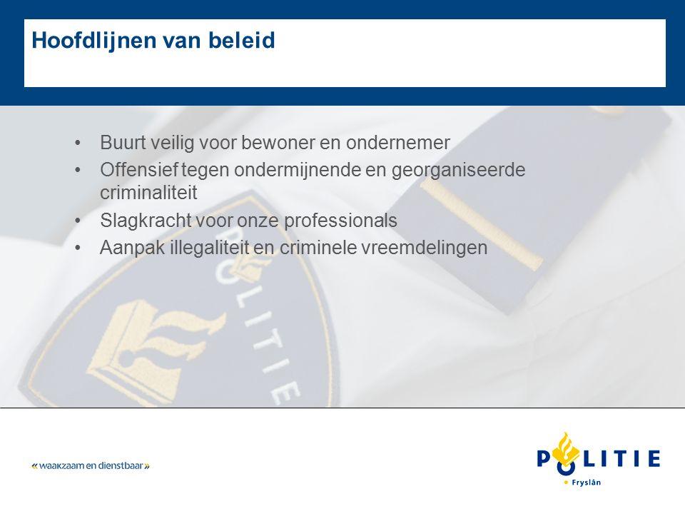 Hoofdlijnen van beleid Buurt veilig voor bewoner en ondernemer Offensief tegen ondermijnende en georganiseerde criminaliteit Slagkracht voor onze prof