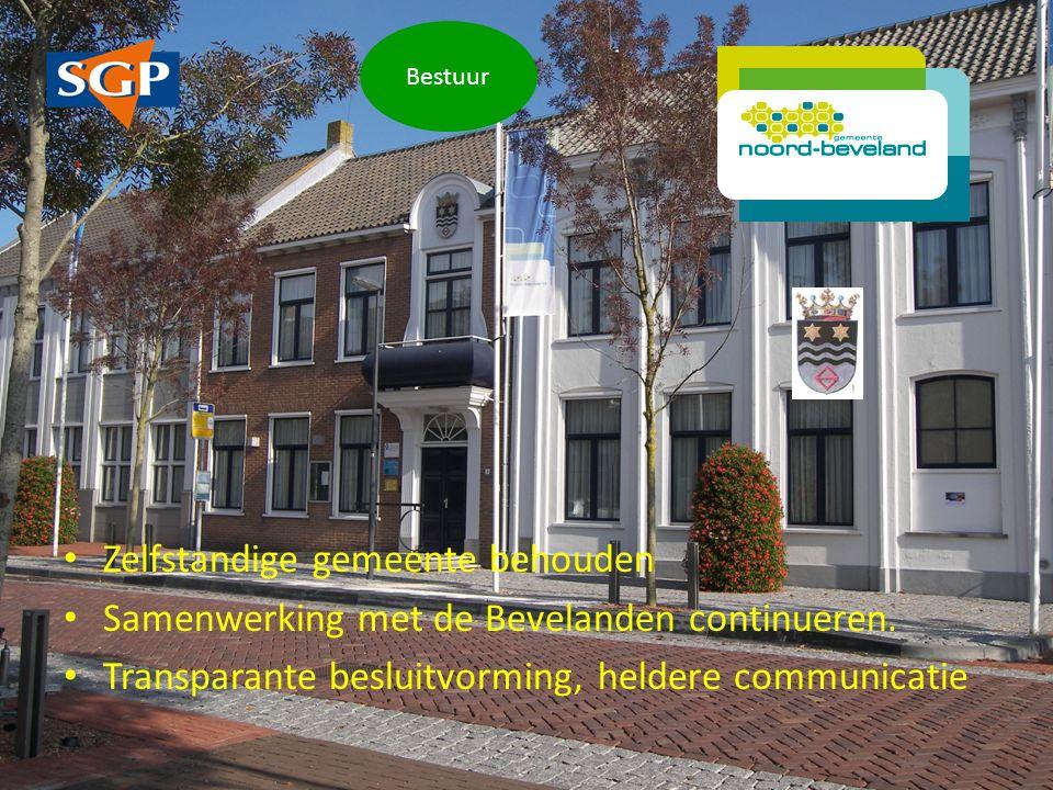 Zelfstandige gemeente behouden Samenwerking met de Bevelanden continueren.