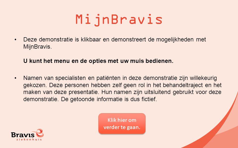 MijnBravis Deze demonstratie is klikbaar en demonstreert de mogelijkheden met MijnBravis. U kunt het menu en de opties met uw muis bedienen. Namen van