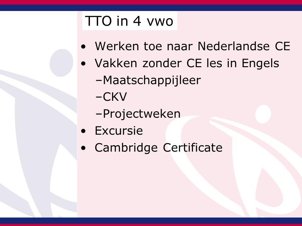 Werken toe naar Nederlandse CE Vakken zonder CE les in Engels –Maatschappijleer –CKV –Projectweken Excursie Cambridge Certificate TTO in 4 vwo