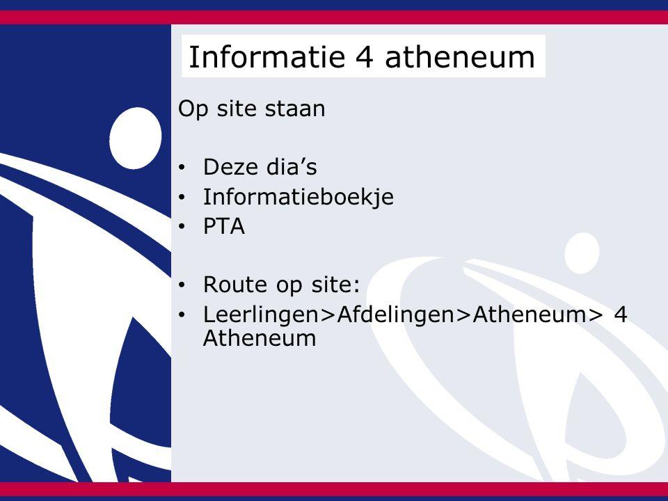 Op site staan Deze dia's Informatieboekje PTA Route op site: Leerlingen>Afdelingen>Atheneum> 4 Atheneum Informatie 4 atheneum