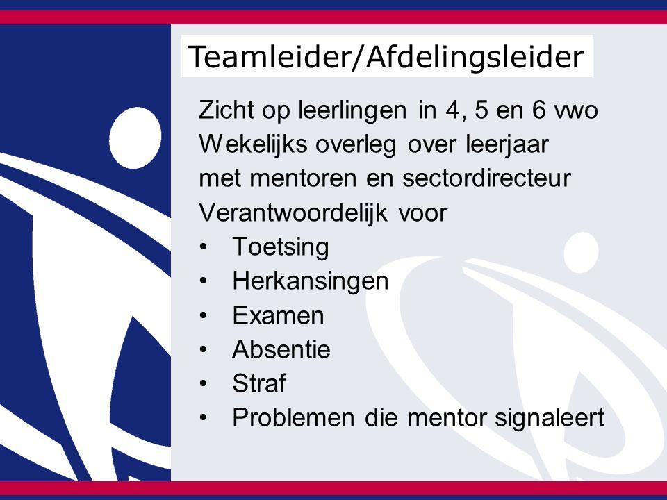 Zicht op leerlingen in 4, 5 en 6 vwo Wekelijks overleg over leerjaar met mentoren en sectordirecteur Verantwoordelijk voor Toetsing Herkansingen Examen Absentie Straf Problemen die mentor signaleert Teamleider/Afdelingsleider