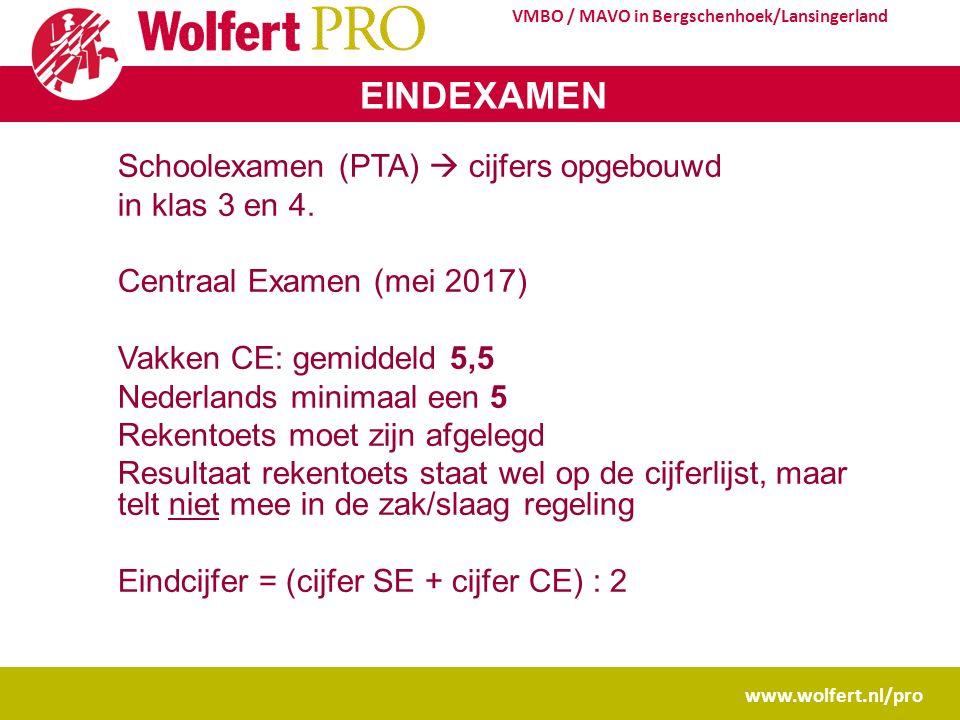 www.wolfert.nl/pro VMBO / MAVO in Bergschenhoek/Lansingerland EINDEXAMEN Schoolexamen (PTA)  cijfers opgebouwd in klas 3 en 4.