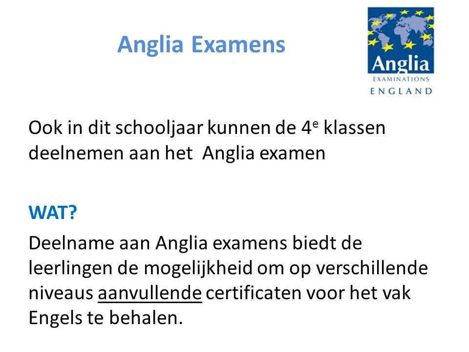 Anglia Examens Ook in dit schooljaar kunnen de 4 e klassen deelnemen aan het Anglia examen WAT.
