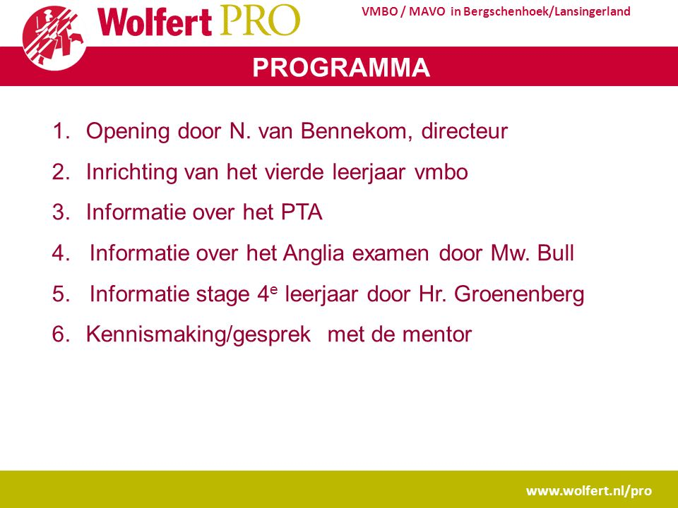 www.wolfert.nl/pro VMBO / MAVO in Bergschenhoek/Lansingerland PROGRAMMA 1.Opening door N.